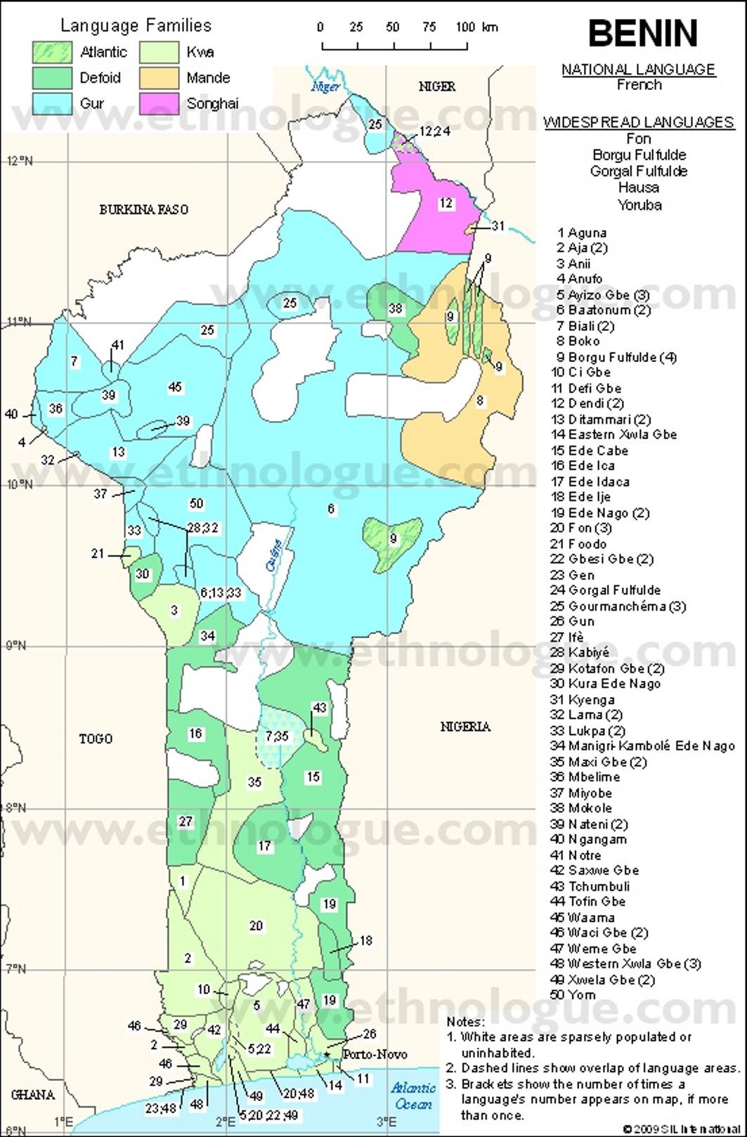 Sprachenkarte von Benin