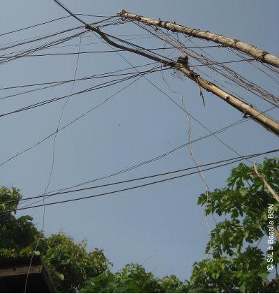 Spinnennetz von privaten Stromkabeln